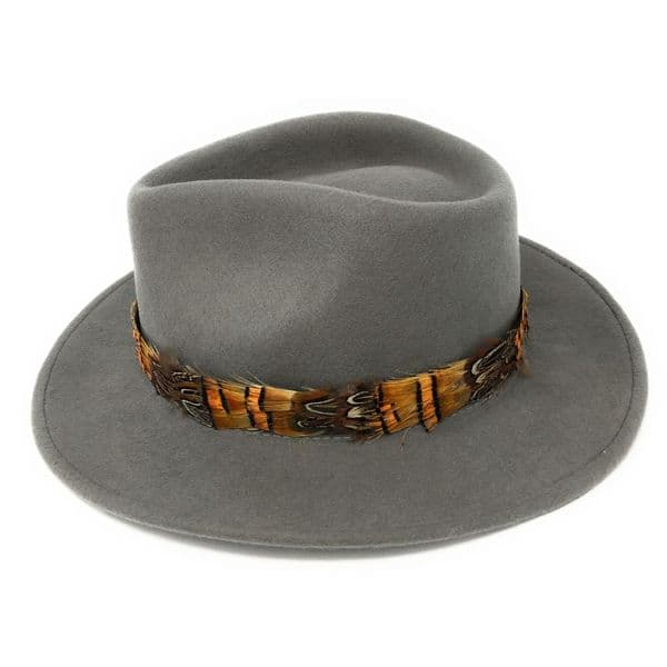 Womens Showerproof Wool Grey Fedora Hat with Country Feather Wrap Trim - Mickleton